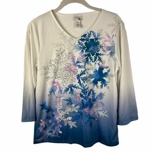 Weekends by Chico's Snowflake Print Top NEW